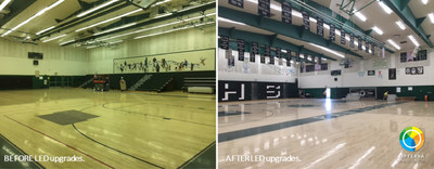 Before/after photos of an LED retrofit done by OpTerra Energy Services at Perris High Gymnasium, representative of the breadth of upgrades that La Mesa Spring Valley Schools will soon see as part of their energy program with OpTerra.
