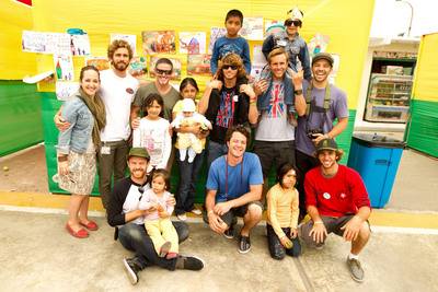 The Sanuk team with children before they are screened by the Operation Smile team.