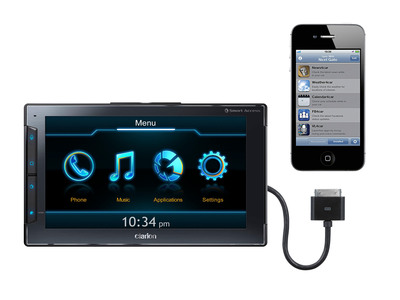 "Clarion Next GATE in-vehicle smartphone controller for the iPhone and iPhone 4S.  The easy to install transportable device enhances iPhone use in virtually any vehicle with easy access to apps optimized for in-vehicle use via Clarion's ""Smart Access"" Cloud Service for vehicle.  Smart Access is a free download on the iTunes(R) app store. Next GATE's hands-free functionalities make it the smarter way to stay connected while on the road.  Clarion Next GATE is Now Available through Amazon, Crutchfield and Best Buy.com and at select stores.  (PRNewsFoto/Clarion Corporation of America)"