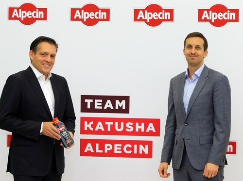 Shampoo manufacturer Alpecin confirmed as title sponsor for new Swiss cycling team Katusha-Alpecin. (l.t.r.): Eduard R. Dörrenberg (Managing partner of Alpecin), Alexis Schoeb (Board member of Katusha-Alpecin). (PRNewsFoto/Dr. Wolff Group)