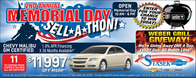 Bill Stasek Chevrolet is offering a Memorial Day Sale at the dealership in Illinois. (PRNewsFoto/Bill Stasek Chevrolet)