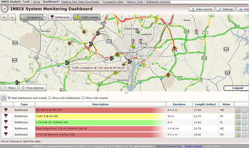 INRIX Analytics. Dashboard showing live view of congestion level bottlenecks and cue length.  (PRNewsFoto/INRIX)
