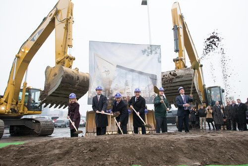 Leaders of the new Minnesota Multi-Purpose Stadium project celebrated its groundbreaking today in Minneapolis. From left-to-right: Michele Kelm-Helgen, Minnesota Sports Facilities Authority Chair; David Mortenson, President, Mortenson Construction; Mark Wilf, Owner/President, Minnesota Vikings; Zygi Wilf, Owner/Chairman, Minnesota Vikings; Minnesota Governor Mark Dayton; Minneapolis Mayor R.T. Rybak. (PRNewsFoto/Minnesota Sports Facilities Authority) (PRNewsFoto/MN SPORTS FACILITIES AUTHORITY)