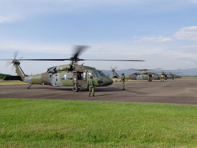The Colombian Army flew five new Sikorsky S-70i(TM) BLACK HAWK helicopters more than 4,300 miles (6,920 km) from Connecticut, USA to Tolemaida, Colombia to augment the capability of the service's Special Forces.  (PRNewsFoto/Sikorsky Aircraft Corp.)