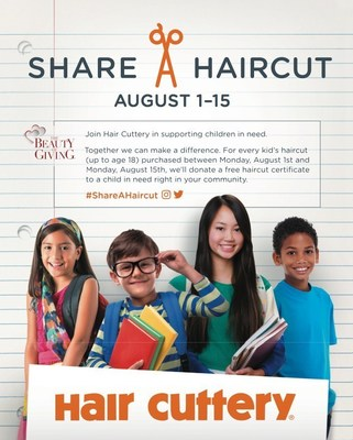 From August 1-15, for every child up to age 18 who purchases a haircut at one of Hair Cuttery's nearly 900 salons, one free haircut certificate will be donated to a disadvantaged child in the community.