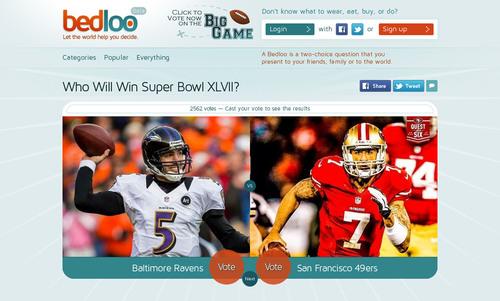 Bedloo Big Game Question.  (PRNewsFoto/Bedloo.com)