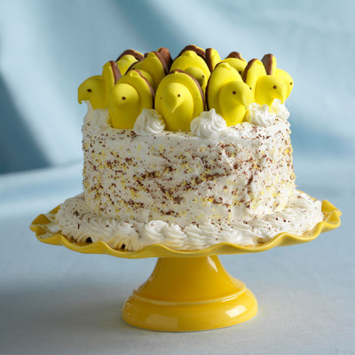 PEEPS(R) Marshmallow Brand Candies welcome spring with a delightful PEEPS(R) Lemon Curd Cake.  (PRNewsFoto/Just Born, Inc.)