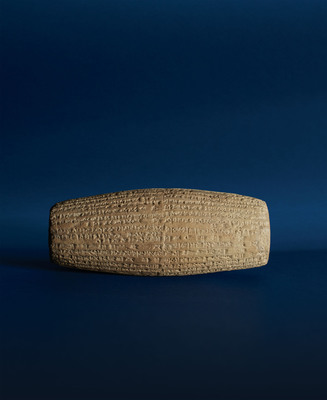 Rare and Important Nebuchadnezzar II Babylonian Clay Cylinder, circa 604-562 BC. Length 8 1/4 inches. Estimate: $300,000-500,000. To be auctioned at Doyle New York on April 9. Image courtesy of Doyle New York.  (PRNewsFoto/Doyle New York)