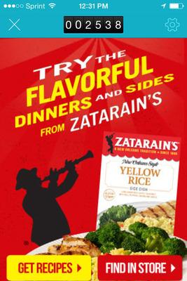 Zatarain's beacon campaign.  (PRNewsFoto/inMarket)