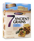 Crunchmaster(R) 7 Ancient Grains crackers are available in two flavors - Hint of Sea Salt (shown) and Cracked Pepper & Herb. The crackers contain 100% whole grains and are certified gluten free.  (PRNewsFoto/Crunchmaster)