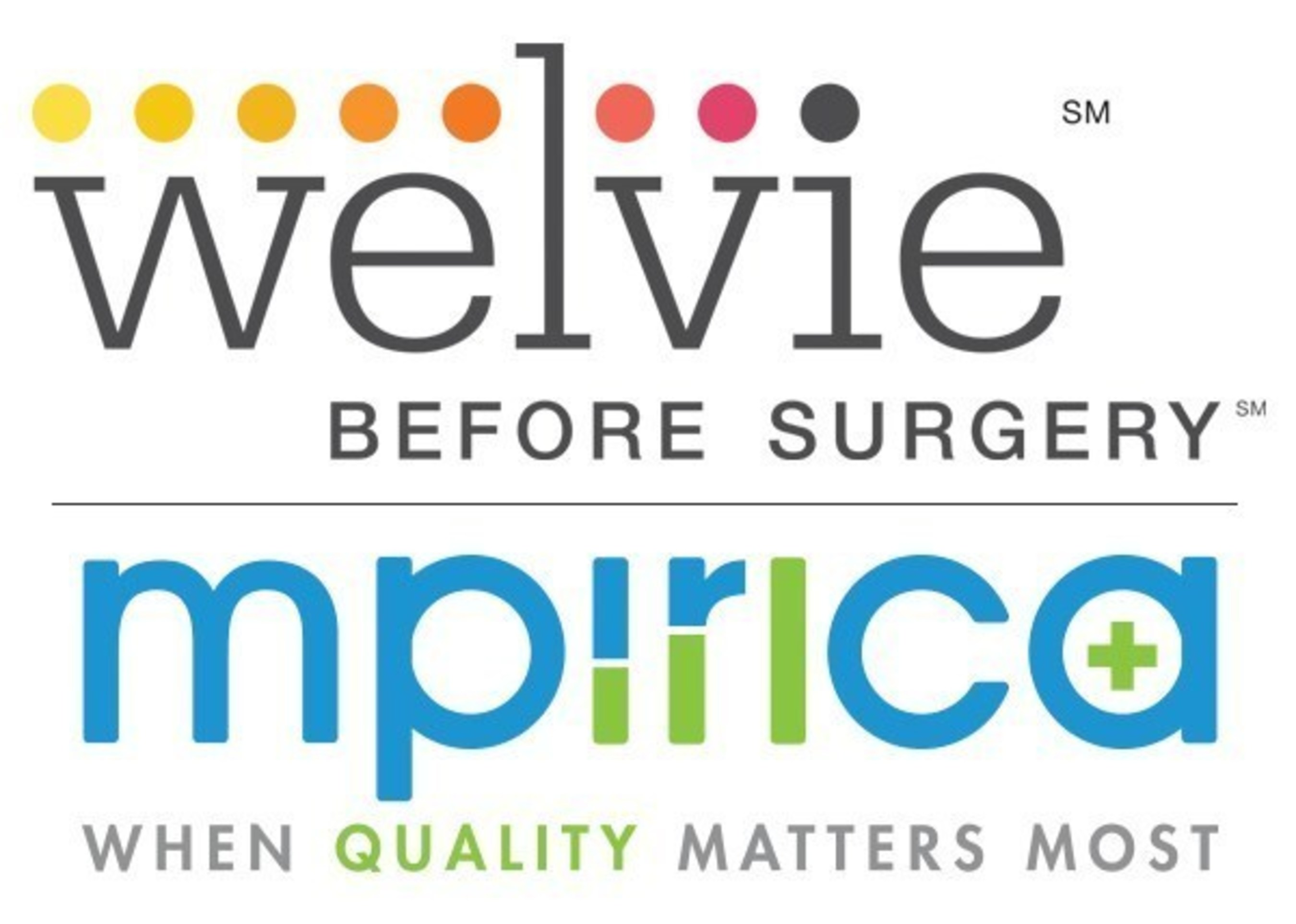 Welvie and MPIRICA logos. Welvie, the nation's leading surgery decision-support company now offers MPIRICA Quality Scores in its platform to enhance patients' ability to choose the best performing surgeon and hospital. More info at: http://www.welvie.com or https://www.mpirica.com