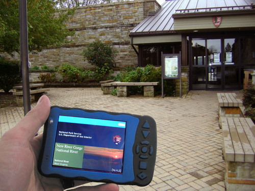 Softeq Development's Durateq ATV handheld shown assisting guests at the New River Gorge National River ...