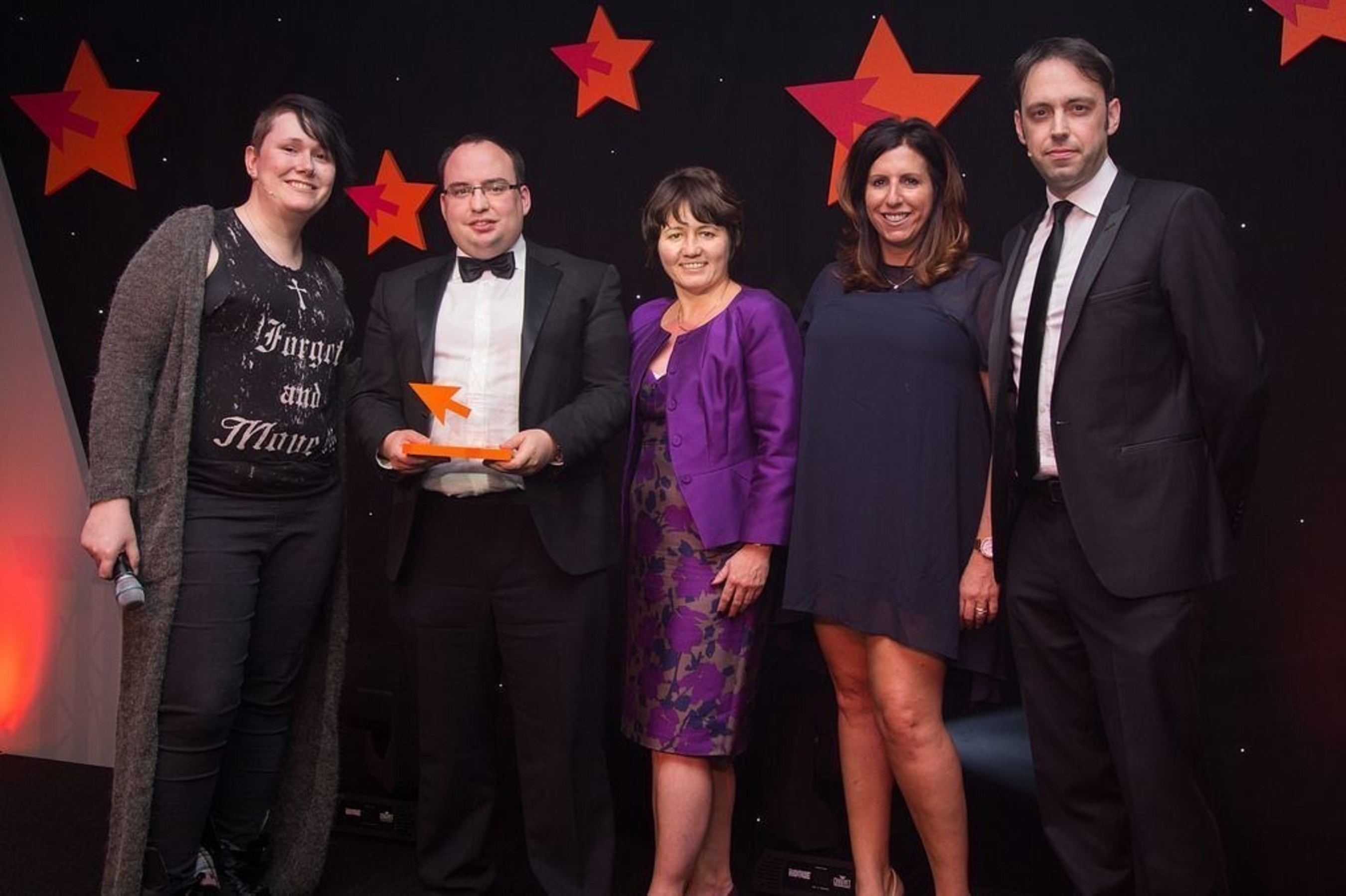 Photo from left to right: Bethany Black - compère and comedian, Andrew Scully, Commercial Director BigChange, Julie Turner, Financial Director BigChange, awards sponsor Laura Wolfe and judge Alastair Cole, The Engine Group. (PRNewsFoto/BigChange Apps)