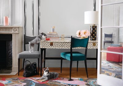 kate spade new york launches a complete assortment of offerings for every room in the home, with furnishings, lighting, rugs and fabrics.