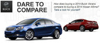 Comparing the 2014 Buick Verano vs. the 2014 Nissan Altima shows the strides Buick has made in improving its smaller class of sedans.  (PRNewsFoto/Cavender Buick GMC North)
