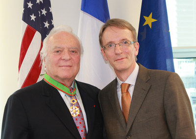 Mel Dick (left), Senior Vice President of Southern Wine & Spirits of America, Inc. and President of the company's Wine Division is elevated to Commandeur for the Order of Agricultural Merit--an honor bestowed by the French Republic. Philippe Letrilliart (right), the Consul General of France in Miami, presented the medal and recognition.