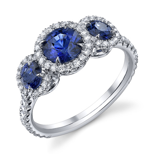 Platinum engagement ring with blue sapphires by Omi Gems, starting from $5,000 (includes all gemstones); photo credit Omi Gems.  (PRNewsFoto/Platinum Guild International USA, Omi Gems)