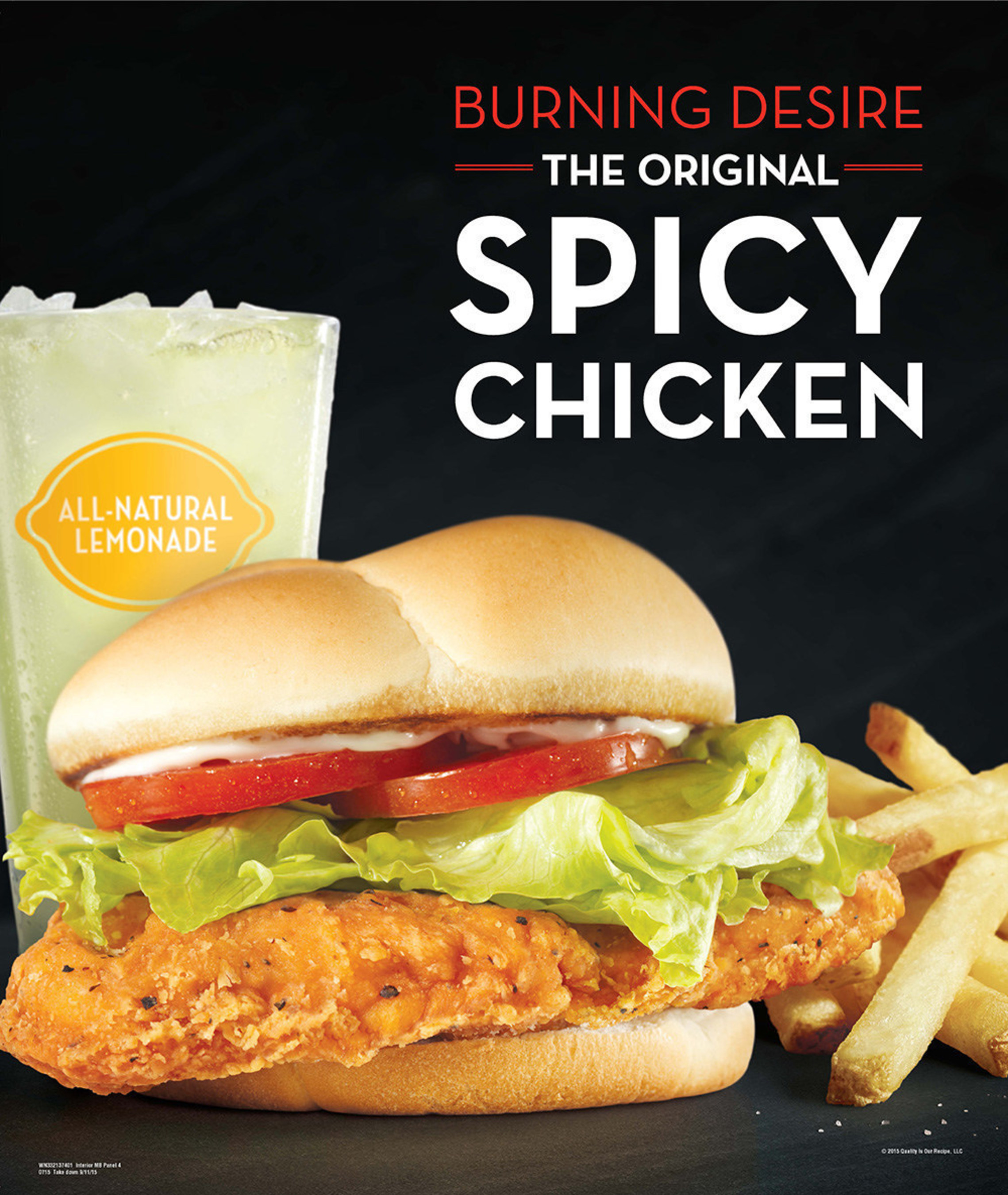 Since 1996 consumers have been craving Wendy's Spicy Chicken Sandwich. The sandwich's tender chicken breast is seasoned with a special mix of black pepper, chili pepper and mustard seed and is topped with mayo, lettuce, and a red, ripe tomato - all on a premium toasted bun. It is easy to see why consumers demanded it become a permanent menu item. As fans know, once you've had a Spicy Chicken Sandwich, nothing else will satisfy the craving.
