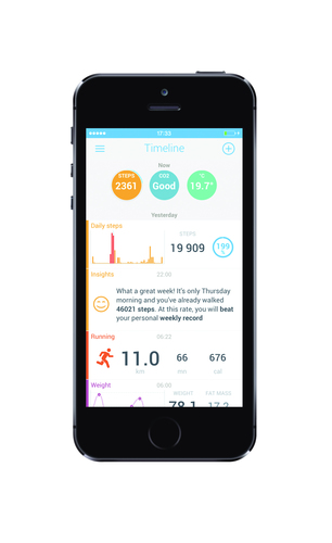 Withings' updated Health Mate app now features real-time coaching that turns the data from Withings devices into actionable advice. (PRNewsFoto/Withings)