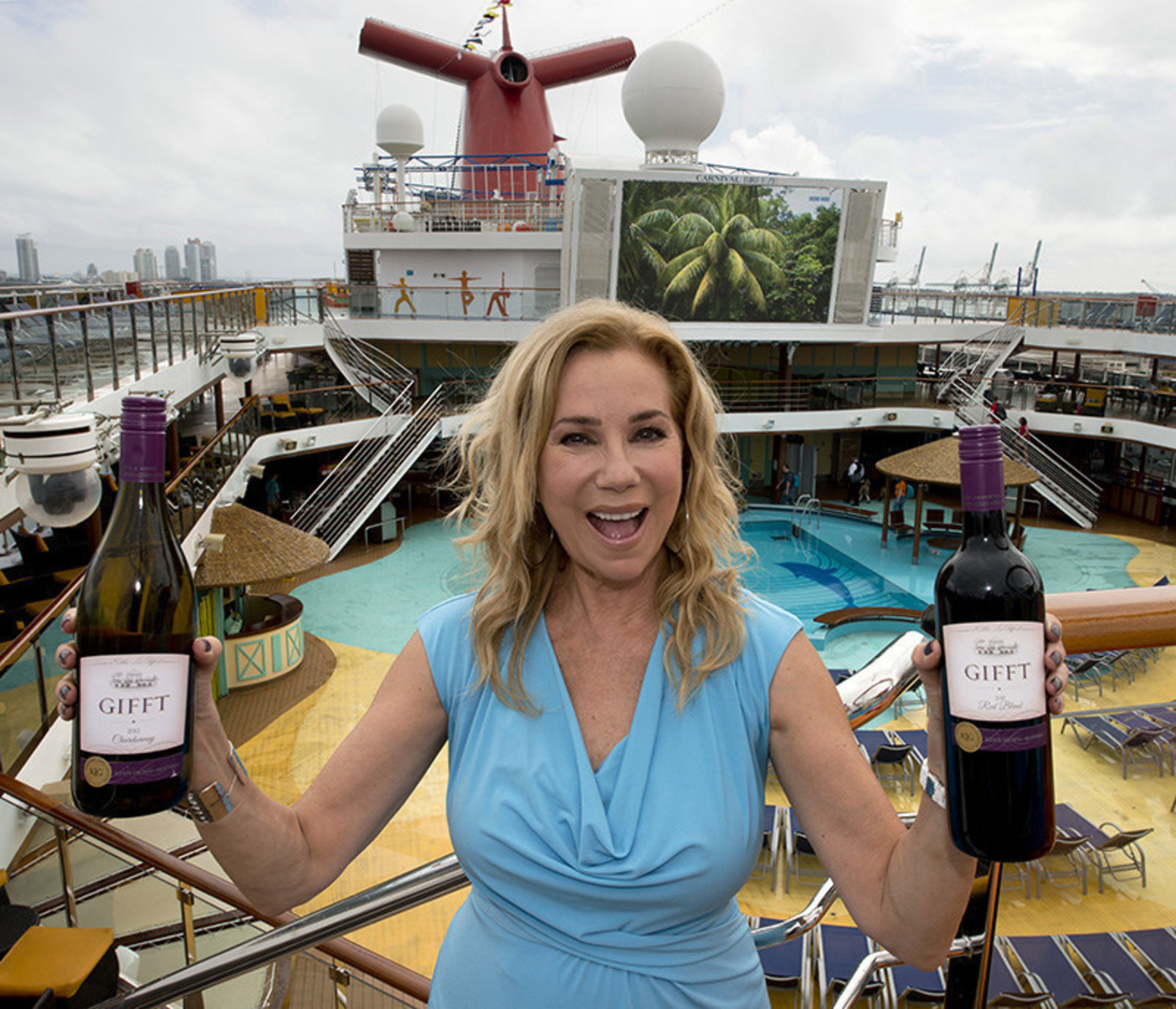 Kathie Lee Gifford, former spokeswoman for Carnival Cruise Line, shows off her GIFFT wines in front of the ...