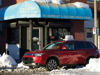 The Mitsubishi Outlander protected over 200 pies during the big game -- the busiest pizza delivery day of the year.