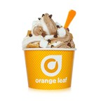 Orange Leaf Frozen Yogurt's new Toasted Marshmallow flavor mixed with Chocolate made with Ghirardelli and topped with graham crackers and more marshmallows makes the perfect s'mores sundae.