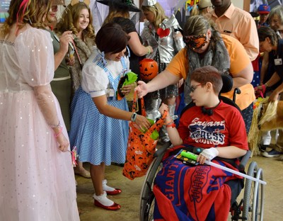 Pediatric patients spending Halloween in the hospital loaded up on treats and fun during a special parade at St. Joseph's Children's Hospital in Tampa on Monday, Oct. 31, 2016.