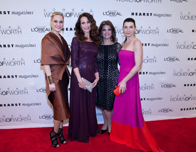 L'Oreal Paris brand ambassadors Aimee Mullins, Andie MacDowell and Julianna Margulies with L'Oreal Paris president, Karen Fondu, at the Women of Worth awards.  (PRNewsFoto/L'Oreal Paris)