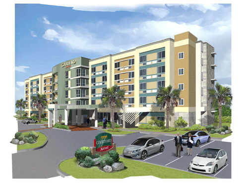 A rendering of Legacy's proposed 129-room Courtyard by Marriott hotel, to be located on Darden's new ...