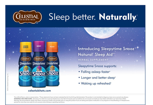 Celestial Seasonings® Launches Sleepytime Snooz™ Natural Sleep Aid Herbal Supplement Shots to Help