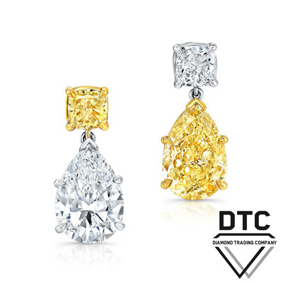 Fancy Yellow and White Diamond Earrings by DTC