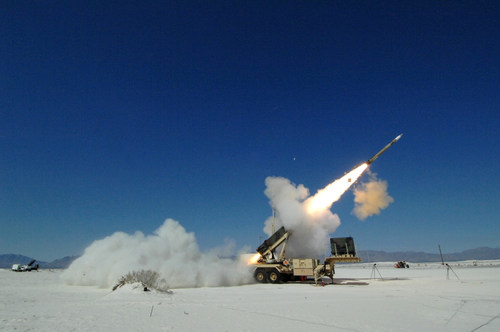 A Lockheed Martin PAC-3 missile blasts out of its launcher during a test at White Sands Missile Range, New ...