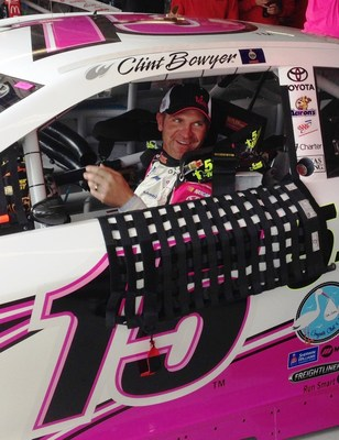 Clint Bowyer and 5-hour ENERGY kick off Breast Cancer Awareness Month and debut the pink and white #15 Toyota at the Kansas Speedway. (PRNewsFoto/Living Essentials, LLC)