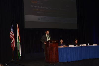 From (L-R) Dr R K Pachauri, President, TERI North America and Director General, TERI, speaking at the Fifth US India Energy Partnership Summit in Washington DC. (Seated) Dr Annapurna Vancheswaran, Vice President, TERI North America, and Ms Naina Lal Kidwai, Chairman, HSBC India; Director, HSBC Asia Pacific