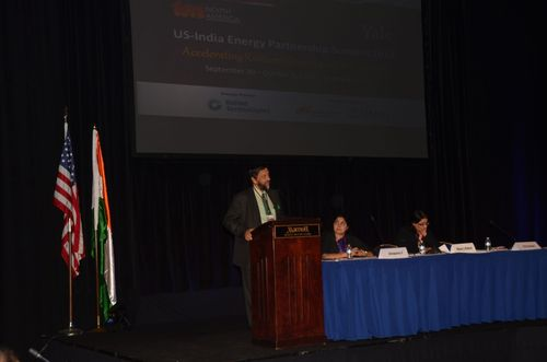 From (L-R) Dr R K Pachauri, President, TERI North America and Director General, TERI, speaking at the Fifth US India Energy Partnership Summit in Washington DC. (Seated) Dr Annapurna Vancheswaran, Vice President, TERI North America, and Ms Naina Lal Kidwai, Chairman, HSBC India; Director, HSBC Asia Pacific (PRNewsFoto/Energy and Resources Institute)