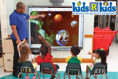Image on Hatch TeachSmart(TM) board simulated for clarity: Kids 'R' Kids Schools of Quality Learning have partnered with Hatch Early Childhood to place TeachSmart and iStartSmart interactive learning systems in Kids 'R' Kids prep schools throughout the US.  This partnership ensures that Kids 'R' Kids' award-winning curriculum and AdvancED accredited programs are aligned with Hatch's state-of-the-industry technology.   Children in Kids 'R' Kids classrooms are nurtured by highly qualified teachers and supported by the latest in interactive technology.  (PRNewsFoto/Kids 'R' Kids International, Inc.)