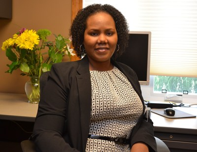 TaShena Melton is shown in her office at St. Monica Home. The former client recently became the facility's manager.