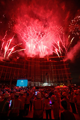 """Guests marvel at a fireworks spectacular choreographed to Lenny Kravitz's emblematic songs, """"Are You Gonna Go My Way"""" and """"Fly Away,"""" as part of the official topping off moment of The Baha Mar Casino & Hotel."""