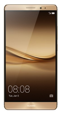 The new Huawei Mate 8 smartphone, launched at CES 2016, displayed with golden case colour (PRNewsFoto/Huawei Consumer BG)