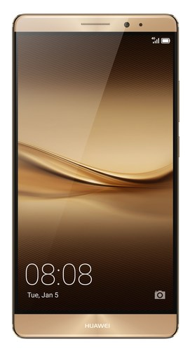 The new Huawei Mate 8 smartphone, launched at CES 2016, displayed with golden case colour (PRNewsFoto/Huawei ...