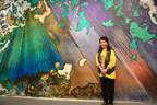 """Marlene Tseng Yu with """"Emerald Forest"""" 2010 Acrylic on canvas 10x20 feet (PRNewsFoto/Marlene Tseng Yu)"""