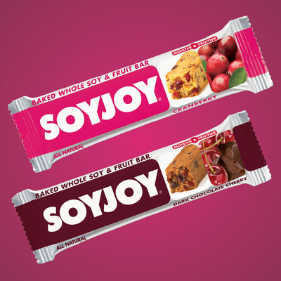 SOYJOY(R) Introduces New Flavors Cranberry and Dark Chocolate Cherry.  (PRNewsFoto/SOYJOY)