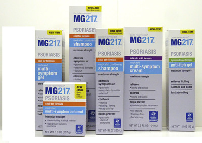 The MG217(R) line of psoriasis treatment products now features a multi-symptom treatment cream that is fragrance-free, fast-absorbing and non-staining to skin and clothing.  (PRNewsFoto/Lake Consumer Products)