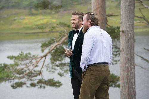 David Beckham and Guy Ritchie talk on set of the HAIG CLUB advert (PRNewsFoto/HAIG Club and Diageo)
