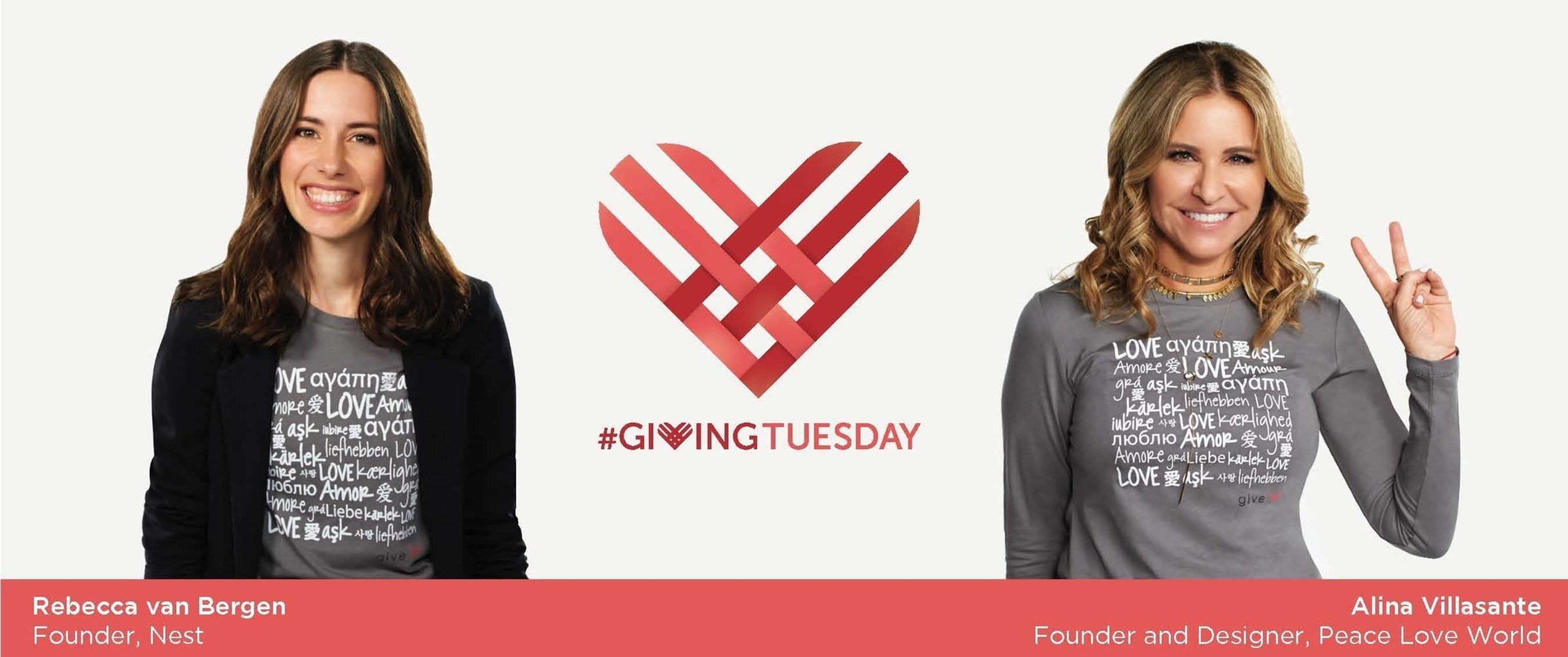 Rebecca van Bergen, founder and executive director of Nest, and Alina Villasante, designer and founder of Peace Love World, for QVC's #GivingTuesday