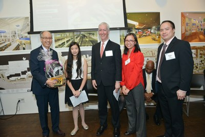 Commissioner Bill Chong (Honoree), Christine Huang (Chinatown YMCA Beacon Program Participant), John Rappaport (Senior Executive Director, Chinatown YMCA), Gigi Li (Chinatown YMCA Board Member), Ryan Chan (Chinatown YMCA Board Chair) at the Chinatown Founders' Award Reception