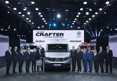 Presentation of the new Crafter: (from left to right) Ralf Nitzschke (Plant Manager Wrzesnia), Volker Eissele (Crafter Project Manager), Marko Sebastian (CFO Volkswagen Poznan), Bernd Graf (Head of Quality Assurance at Volkswagen Commercial Vehicles), Albert-Johann Kirzinger (Head of Design Volkswagen Commercial Vehicles), Jolanta Musielak (CHRO Volkswagen Poznan), Jens Ocksen (CEO Volkswagen Poznan). Dr. Eckhard Scholz (Chief Executive Officer of the Volkswagen Commercial Vehicles Board of Management), Dr. Harald Ludanek (Member of the Board of Management for Technical Development at Volkswagen Commercial Vehicles), Bram Schot (Member of the Board of Management for Sales and Marketing at Volkswagen Commercial Vehicles), Prof. Thomas Edig (Member of the Board of Management for Human Resources at Volkswagen Commercial Vehicles), Winfried Krause (Member of the Board of Management for Finance and IT at Volkswagen Commercial Vehicles), Dr. Josef Baumert (Member of the Board of Management for Production and Logistics at Volkswagen Commercial Vehicles), Jörn Hasenfuß (Member of the Board of Management for Purchasing at Volkswagen Commercial Vehicles). (PRNewsFoto/Volkswagen Commercial Vehicles)