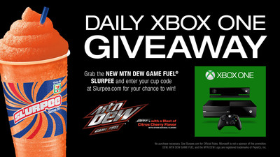 7-Eleven(R) is awarding 58 Microsoft Xbox One Entertainment Systems though Jan. 2 as part of its promotion of Mountain Dew Game Fuel Citrus Cherry Slurpee(R) drink and the company's Slurpee Nation(TM) Rewards program.  (PRNewsFoto/7-Eleven, Inc.)