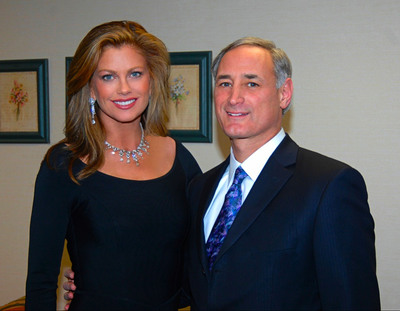kathy ireland Worldwide's CEO & Chief Designer Kathy Ireland with Raymour and Flanigan's CEO & President Neil Goldberg.  (PRNewsFoto/kathy ireland)