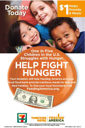 7-Eleven stores collect spare change to fight hunger.  (PRNewsFoto/7-Eleven, Inc.)